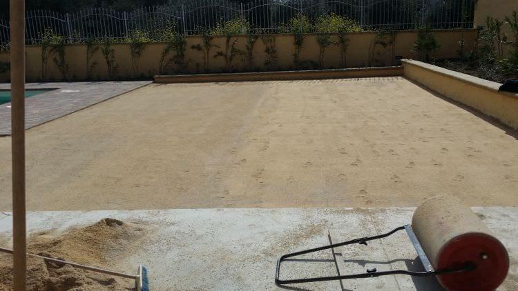 terreno pronto alla posa del prato in erba sintetica, Sassari