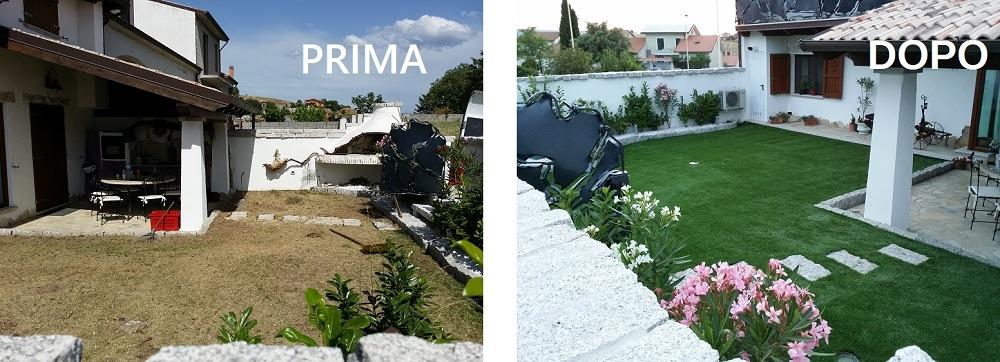 installazione prato sintetico in provincia di Sassari, prima e dopo